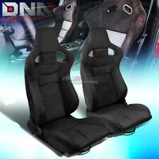BLACK RECLINABLE FAUX SUEDE CARBON FIBER PATTERN RACING SEATS W/UNIVERSAL SLIDER
