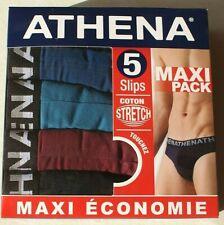 lot de 5 slips Athena neufs taille 4/L noir, bordeaux et bleu