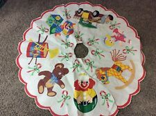 Vintage 47� Tree Skirt With Candy Canes, Doll Baby, Rocking Horse. Etc.