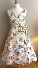 GREAT PLAINS CREAM FLORAL WRAP DRESS SIZE 12