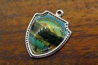 Vintage sterling silver WASHINGTON STATE MOUNTAINS TRAVEL SHIELD charm #E29