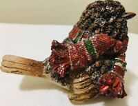 "BIRD Figurine Sculpture Red Green Scarf Rustic Home Decor Great Gift 3 1/2"" x 4"""