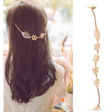 Fashion Women Lady Rhinestone Chain Headband Hair Band Leaf Hair Clip Jewelry