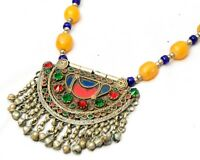 Vintage Banjara Tribal Boho Kuchi Afghan Rare Glass Beads Gypsy Necklace