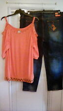 Baby phat Plus Sz 3X Orange Cold Shoulder Top & Matching Jeans 24W