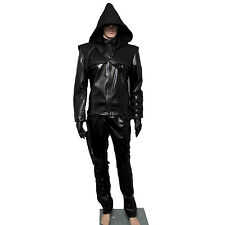 Leather Jackets Arrow Oliver Queen Cosplay mens Costume Outfit Black Version