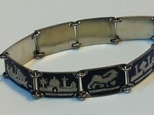 Antique original Niello jewelry Iraq sterling silver bracelet (m1800)