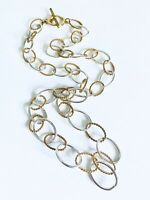 """Vintage Estate Find Long Two Tone Large Chain Link  Necklace 30"""""""