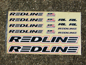 Redline Flight Old School Crank Stickers Pair Red Lines /& Black