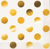 DOTS METALLIC GOLD BEVERAGE SMALL NAPKINS PACK OF 16 PARTY SUPPLIES