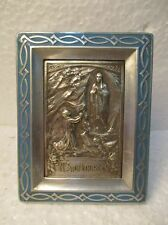 """Petit cadre en bas relief religieux en métal argenté : """"N.S.di Lourdes"""""""