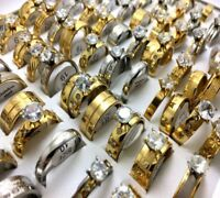 Lot de 50 ACIER inoxydable anneau bague homme femme bijoux rings Zircon Mix