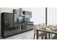 respekta Premium Küche Einbau Küchenleerzeile Leerblock 310cm Eiche-grau schwarz