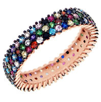 925 Sterling Silver Turkish Handmade Eternity 3 Row Ring with Multicolour Stone