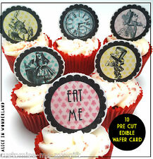 """10 Alice in Wonderland Edible Pre Cut 2""""  Cupcake Toppers 