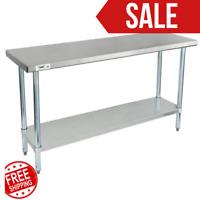 """Stainless Steel Work Prep Shelf Table Commercial Restaurant 18 Gauge 18"""" x 60"""""""