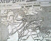 SIEGE OF YORKTOWN Ends with Confederate Evacuation MAP 1862 Civil War Newspaper