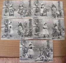 lot 5 ancienne carte postale Bergeret serie complete la cigale et la fourmi 1904