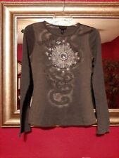 F.A.N.G. Long sleeve gray t-shirt w/silver graphics on front Junior size L