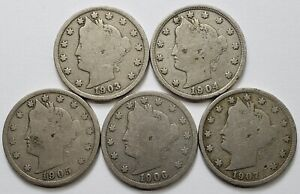 """""""About GooD"""" Lot of (5) Liberty Head Nickels """"Different Dates"""""""