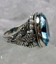 *Aquamarine*& Seed Pearl Sterling Silver Art Nouveau Floral Filigree Ring Size 7