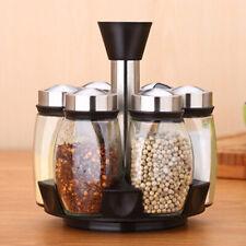 7x Jar Set Revolving Rotating Spice Rack Glass Herb Jars Cruet Condiment Holder