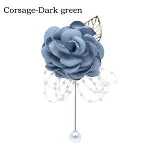 Crystal Satin Rose Flower Corsage Wedding Bride Bridesmaid Wrist Flower Bouquet