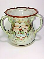 Vintage Asian Hand Painted Porcelain 3 Handled Ceramic Vase Gold Trim Birds