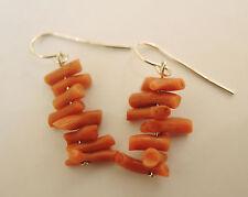 Vintage coral beaded earrings sterling silver hooks