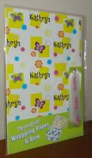 Personalised KATHRYN Birthday Gift Wrapping Paper & Bow (1 Sheet & 1 Ribbon)