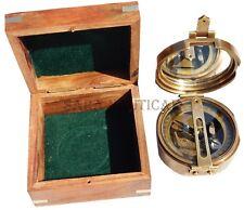 Natural Sine Antique Brass Brunton Handmade Nautical Marine Transit Compass