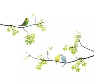 """NEW 28"""" x 24"""" 3 Colorful Parakeet Birds On Branches Vinyl Wall Decal"""