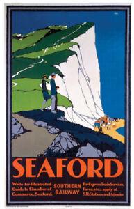 Vintage Seaford Art Print Railway Travel Poster A1/A2/A3/A4!
