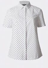M&S Collection Cotton Rich Spotted Short Sleeve Shirt Plus Size 20 Black White