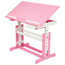 Captivating Kids Height Adjustable Tilting Homework Writing Table Study Desk Children  Pink