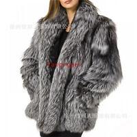 Women Fox Fur Coat Lapel Collar Mid Long Jacket Warm Overcoat Plus size S-4XL