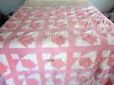 ANTIQUE PINK & WHITE QUILT FABULOUS FOR A SHABBY CUTTER CHIC