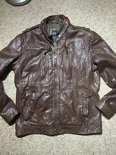 Hugo Boss Genso Brown Zipper Pockets Moto LEATHER Jacket 44 R Casual - Ret 529$