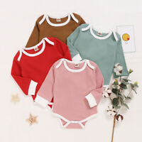Newborn Infant Baby Boys Girls Long Sleeve Solid Romper Bodysuit Clothes Outfits