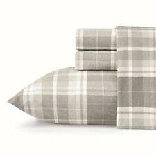 Queen Size Pure Cotton Flannel Plaid Grey Bed Sheet Set Machine Washable 4 Piece