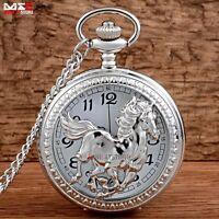 Antique Horse Animal Vintage Silver Pocket Watch Quartz Chain Necklace Gift UK