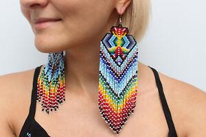 Native American Style Earrings, American Indian Beaded Earrings, Geometric Aztec