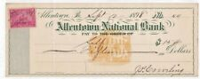 VINTAGE ALLENTOWN NATIONAL BANK CHECK 1898 w/ REVENUE STAMP PA