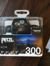 Petzl Actik Black 300 Lumens LED Hybrid Concept Headlamp E99 AAA New!!