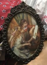 Vintage Oval Picture Frame Glass & Metal 2 Girls At The Piano Made In Italy