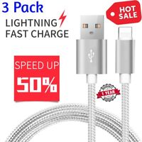 3 PACK 10 FT Heavy Duty Braided Lightning USB Charger Cable Cord iPhone X 8 7 6