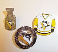PITTSBURGH PENGUINS-'3 IN 93-PIN + Stanley Cup 91 + Pens shirt Pinback Lot