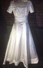 NICE BEADED Demetrios Short Sleeve Petite Size 8 WHITE Wedding Dress W/ Train