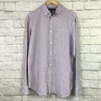 Banana Republic Men's Medium Shirt Slim Fit Purple White Gingham Plaid Button-Up