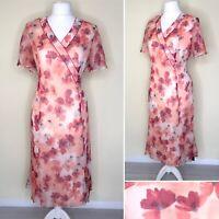 Eastex Dress UK 16 Pink Peach V Neck Short Sleeve Floaty Wedding Party Women NEW